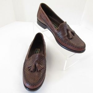 Cole Haan Tassel Loafers Woven Slip On Flats Shoes